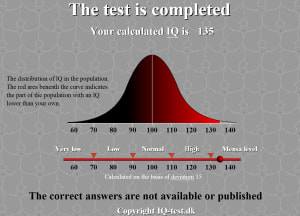 iqtest.dkのIQテスト結果
