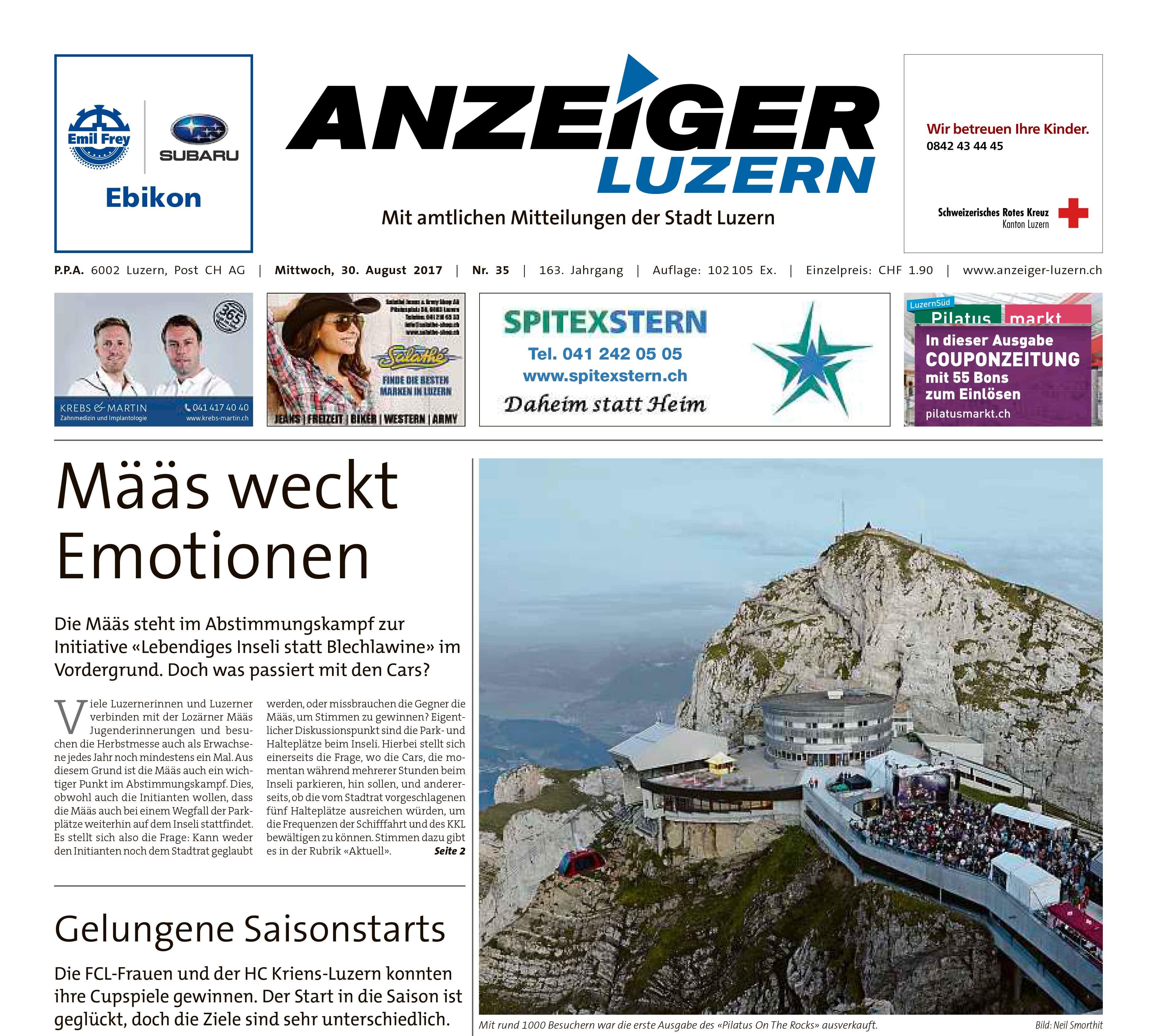 Anzeiger Luzern Inserat