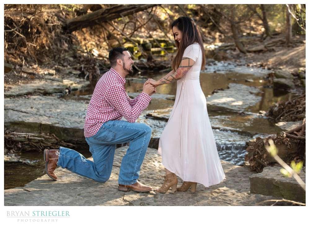 proposal near a creek