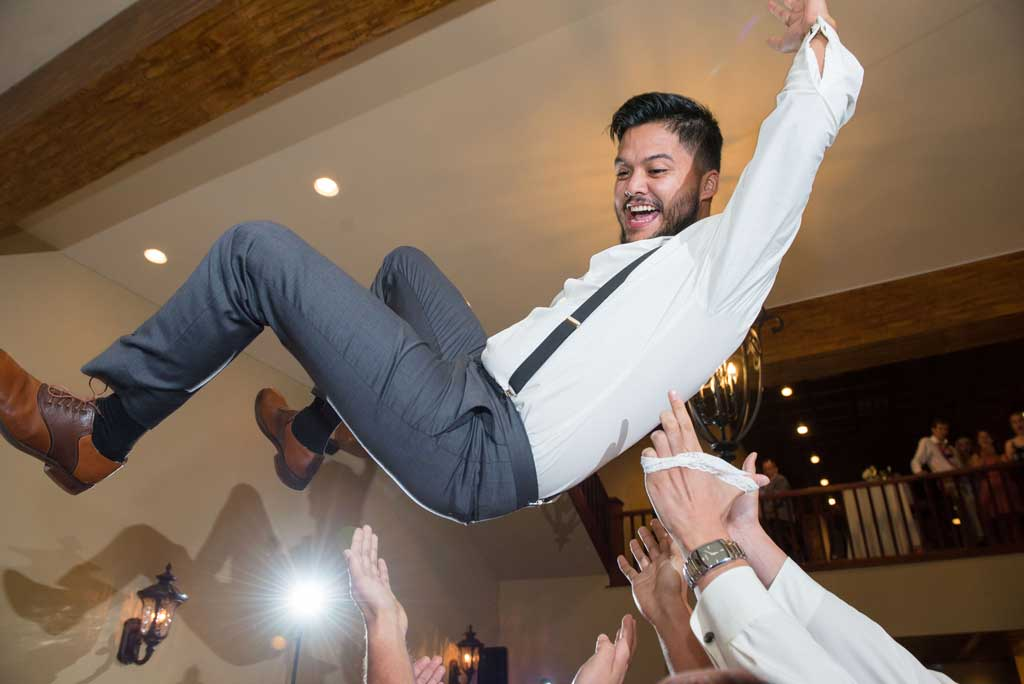 tossing groom