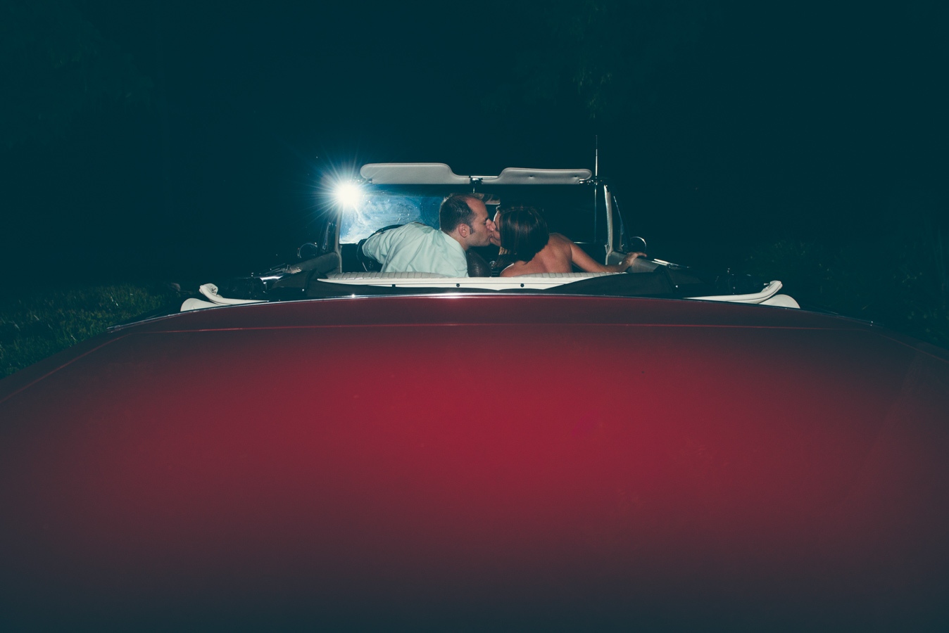leaving wedding in classic car