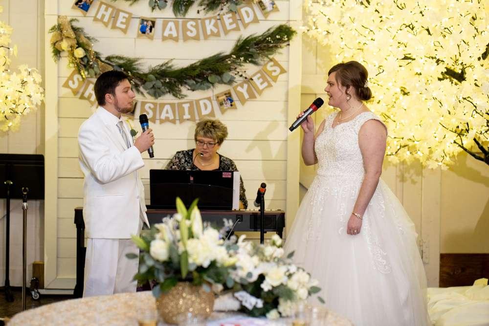 wedding couple singing together