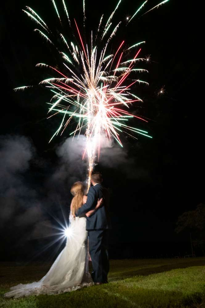 wedding exit with fireworks
