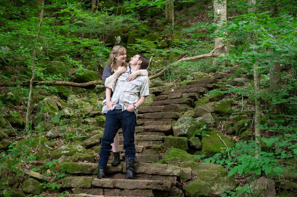 engagement photo with rock stairs