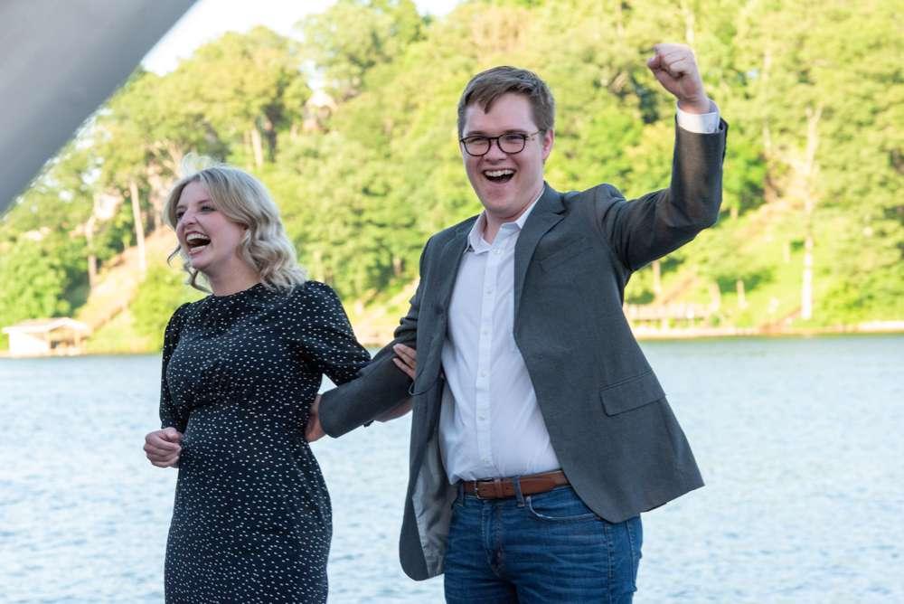 guy celebrating after proposal
