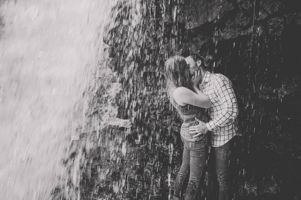 engagement photos under waterfall