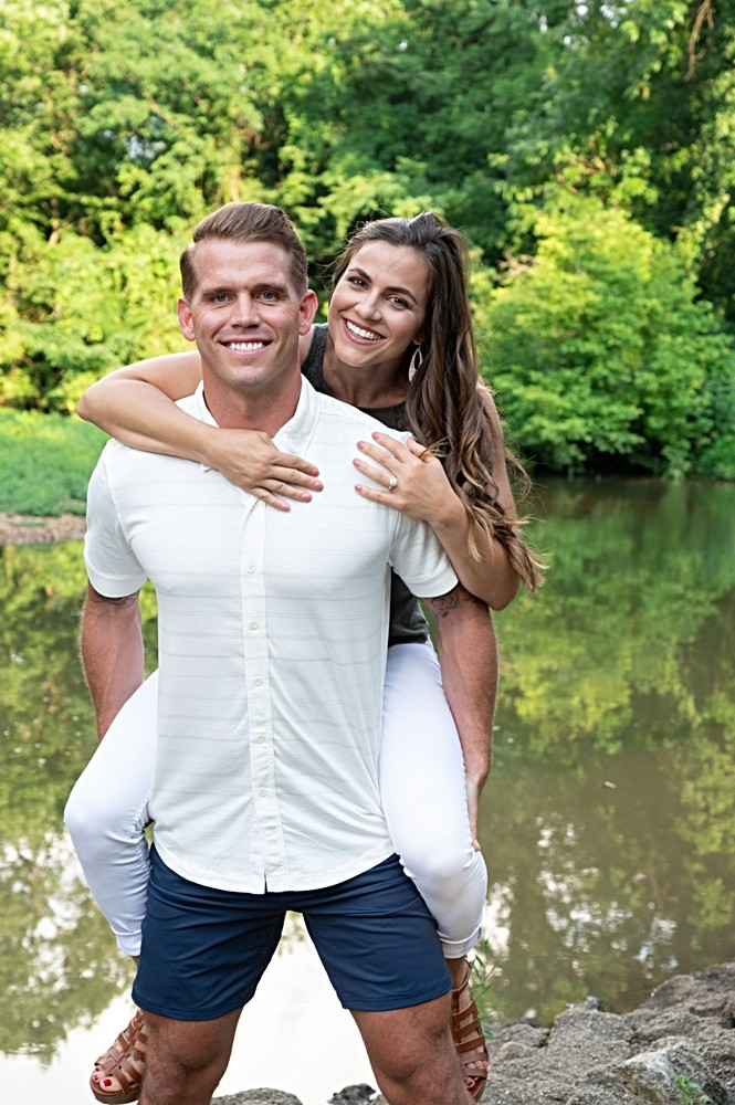 engagement photos in front of a creek