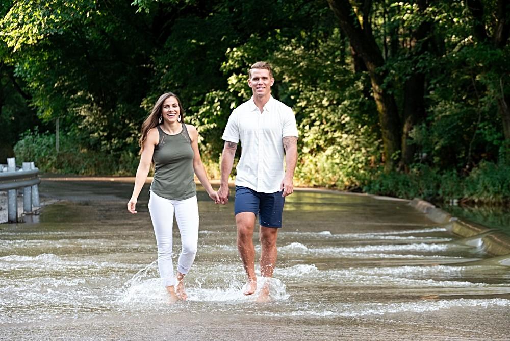 walking in flooded creek