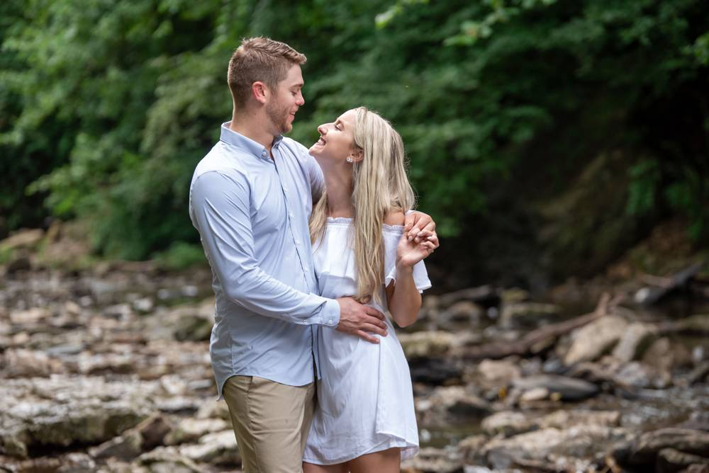 engagement photos in a creek