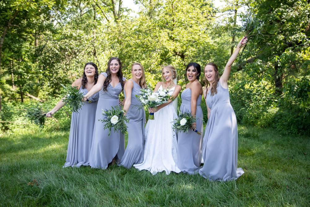 bridesmaids laughing at Osage House