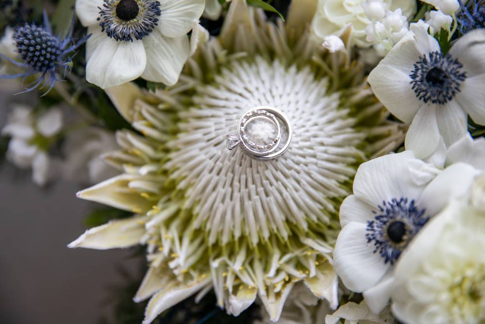 wedding ring on bouqet