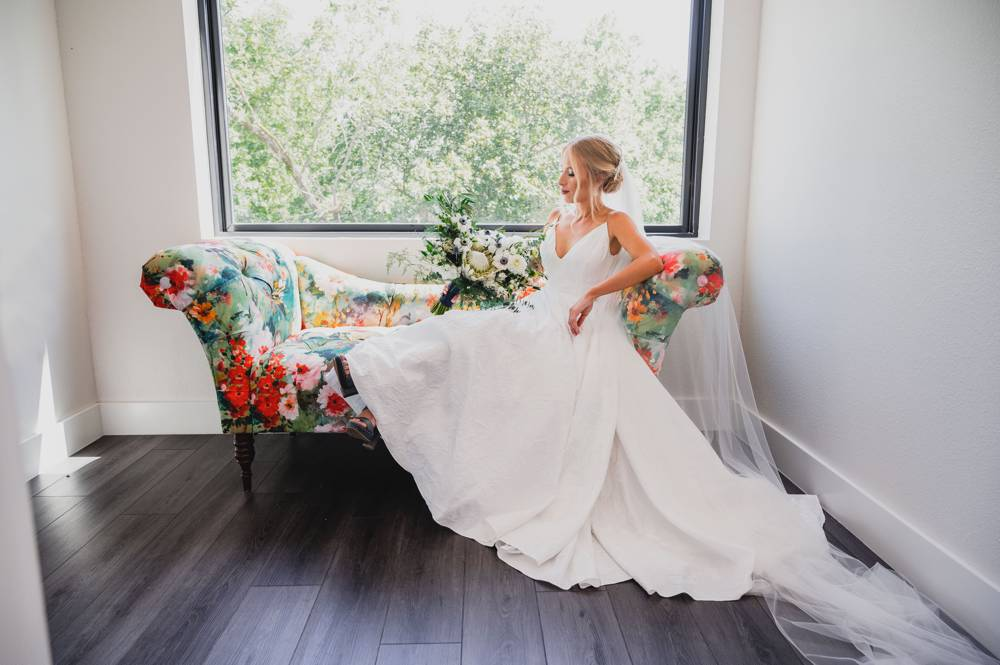 bride relaxed on couch