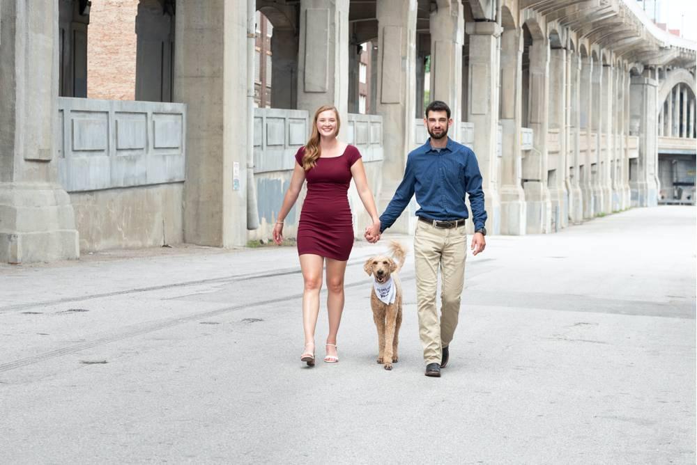 walking engagement photo with dog