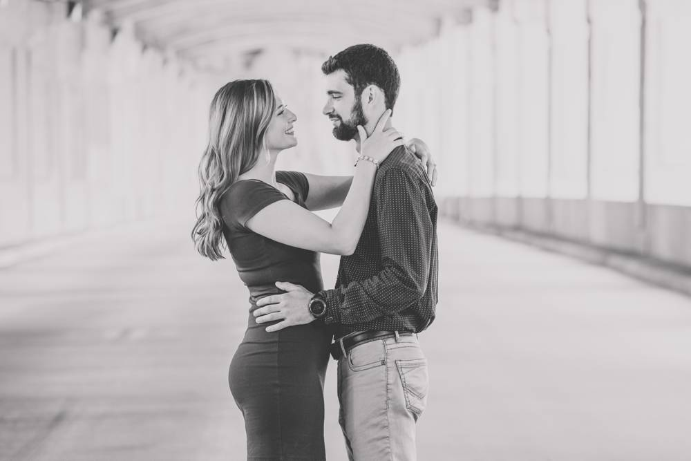 engaged couple in Kansas City at West Bottoms