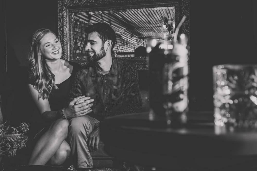 West Bottoms Whiskey Bar engagement photo
