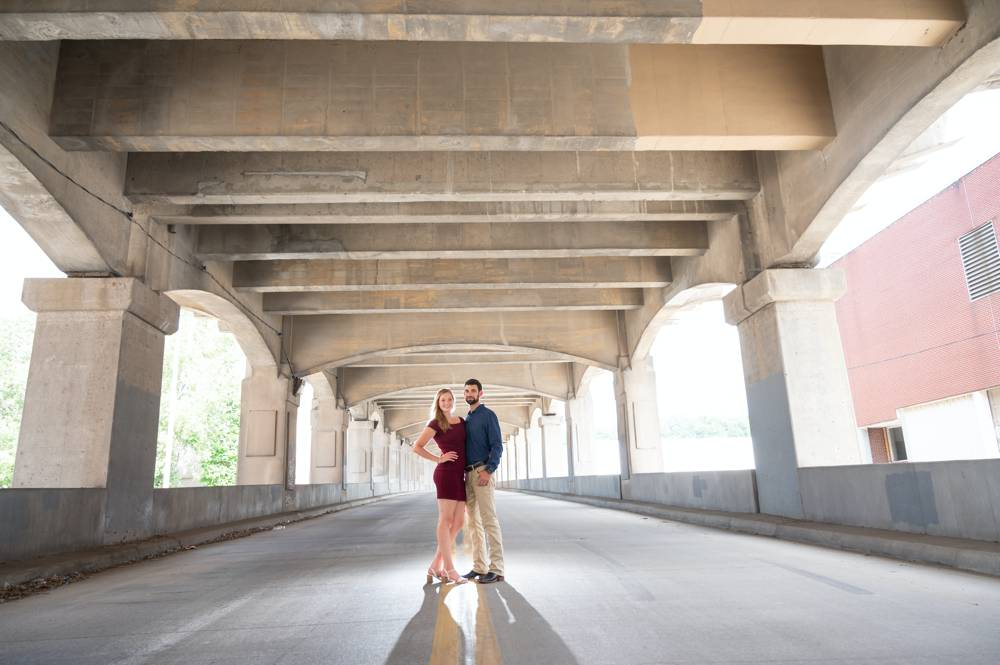 West Bottoms engagement photos with underpass