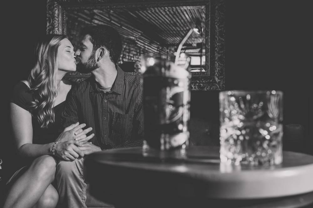 engagement photos at bar