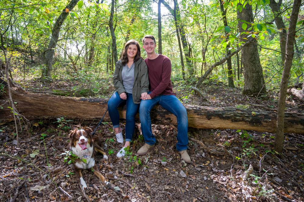 engagement session with couple sitting on log