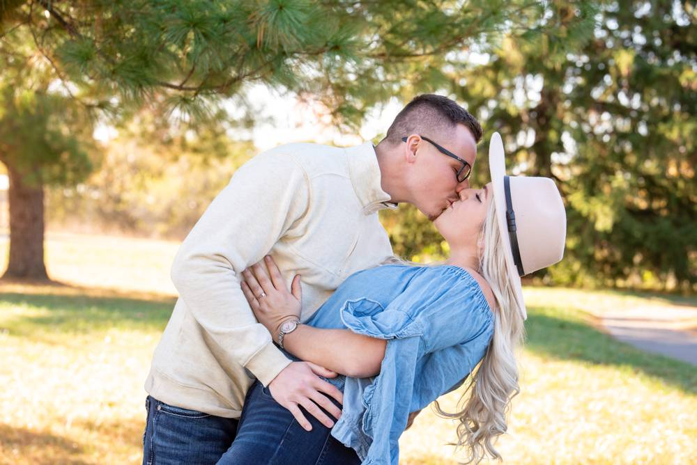 engagement photo with hat