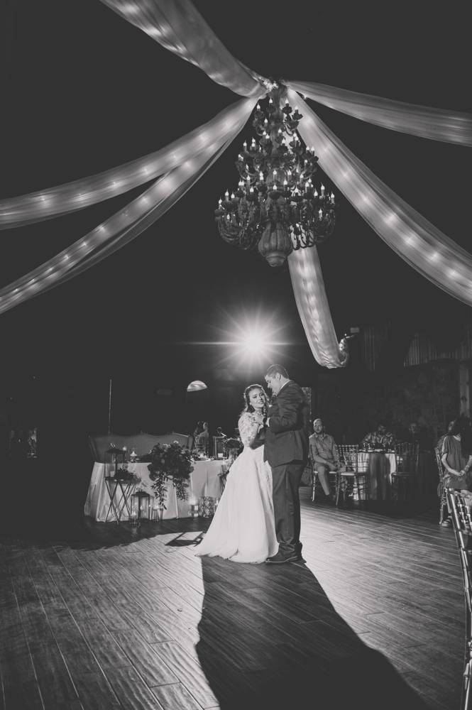 first dance with chandalier at Matt Lane Farm black and white