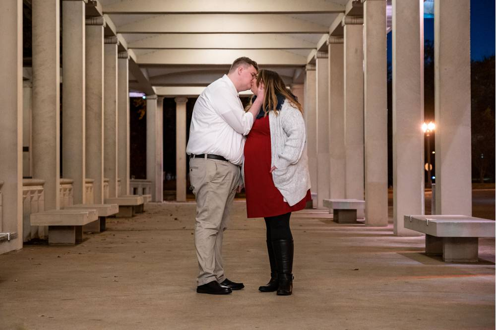 engagement photos with columns at the Muny in St. Louis