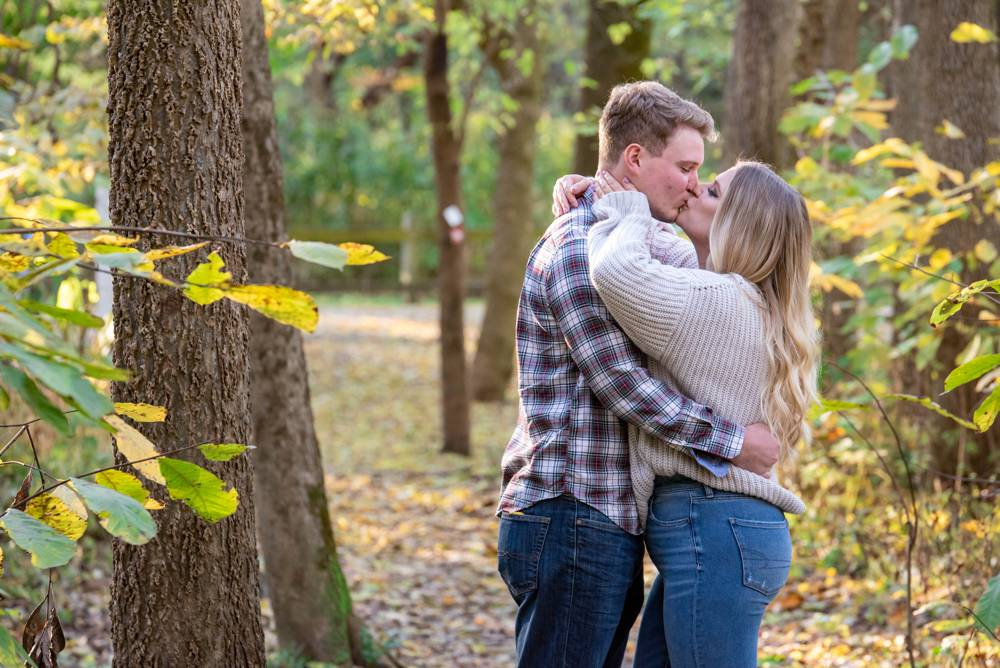 engagement photos in the woods in St. Louis