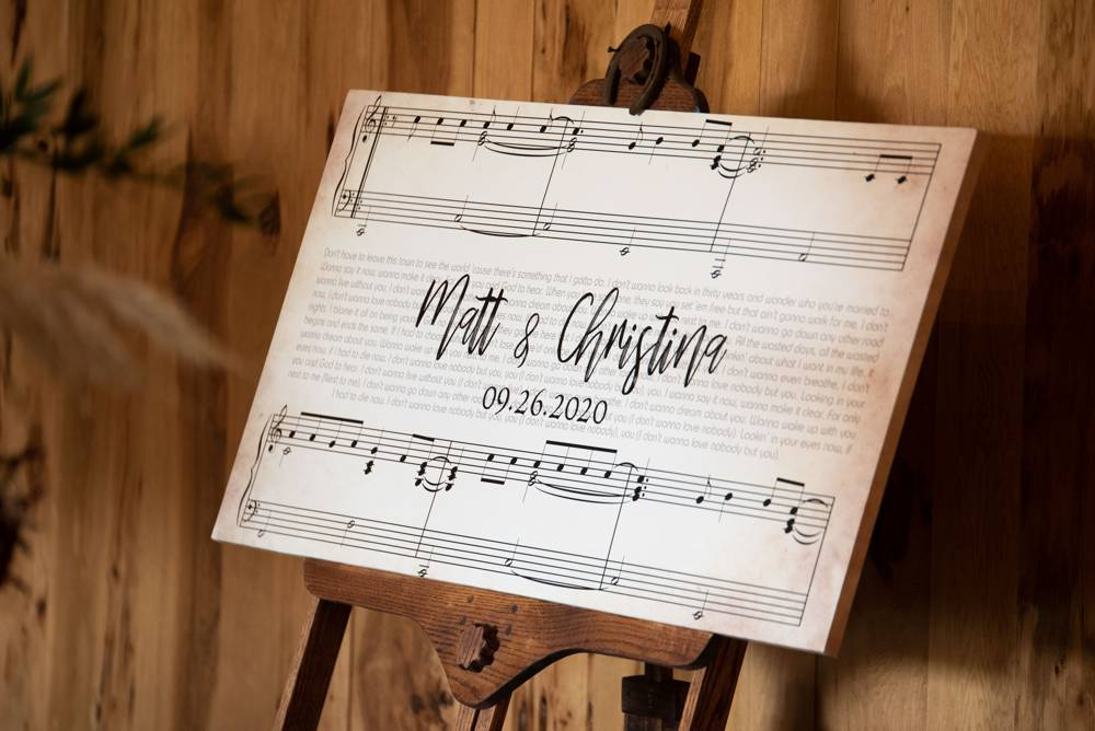 custom wedding sign with music notes