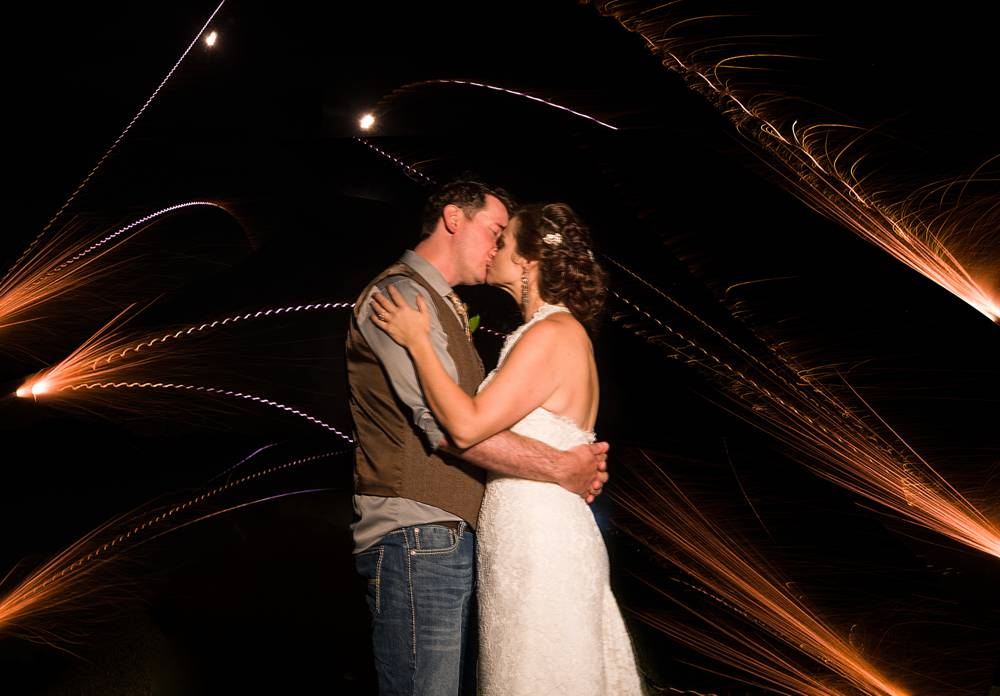 Roman Candle long exposure wedding photo