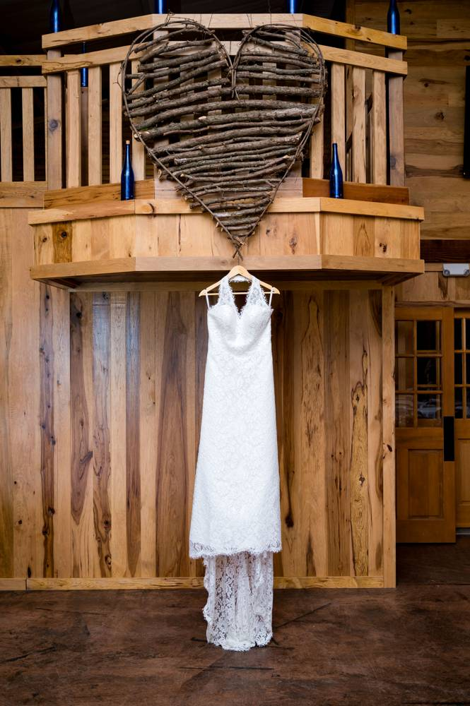 dress hanging at The Lodge at Rock Creek