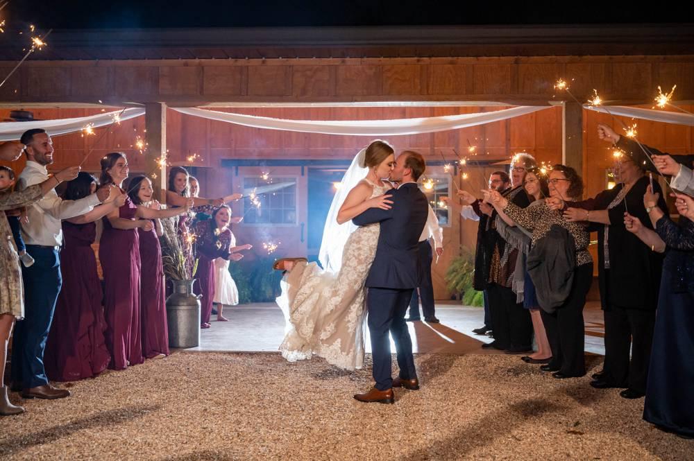 sparkler exit at Under the Woods Wedding
