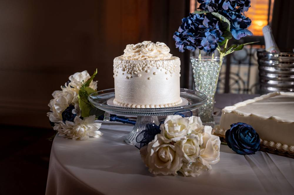 wedding cake with white details