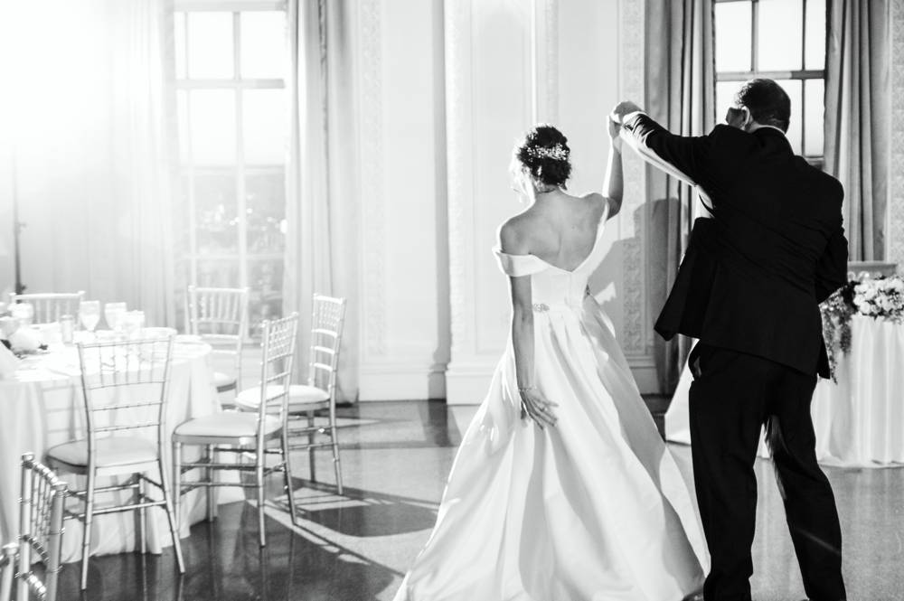 bride dancing with father at Mayo Hotel ballroom