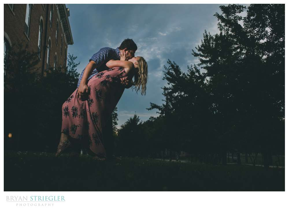 Haley and Brock's engagement photos at the University of Arkansas