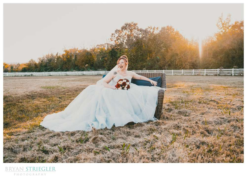 bridal portraits on a couch