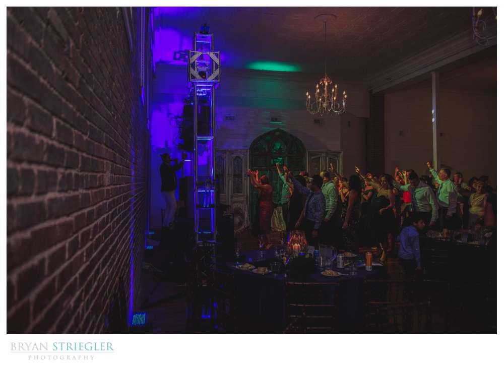 wide angle of dance floor at a Ravington wedding