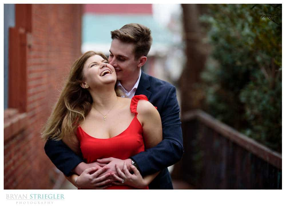 couple laughing during engagement session