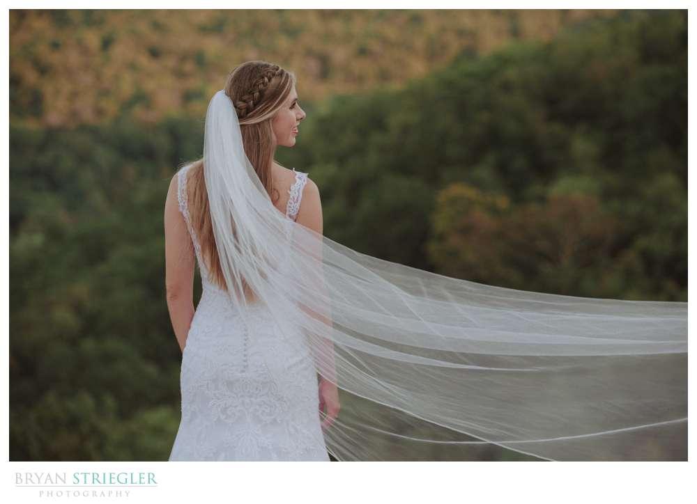 veil being swept in wind