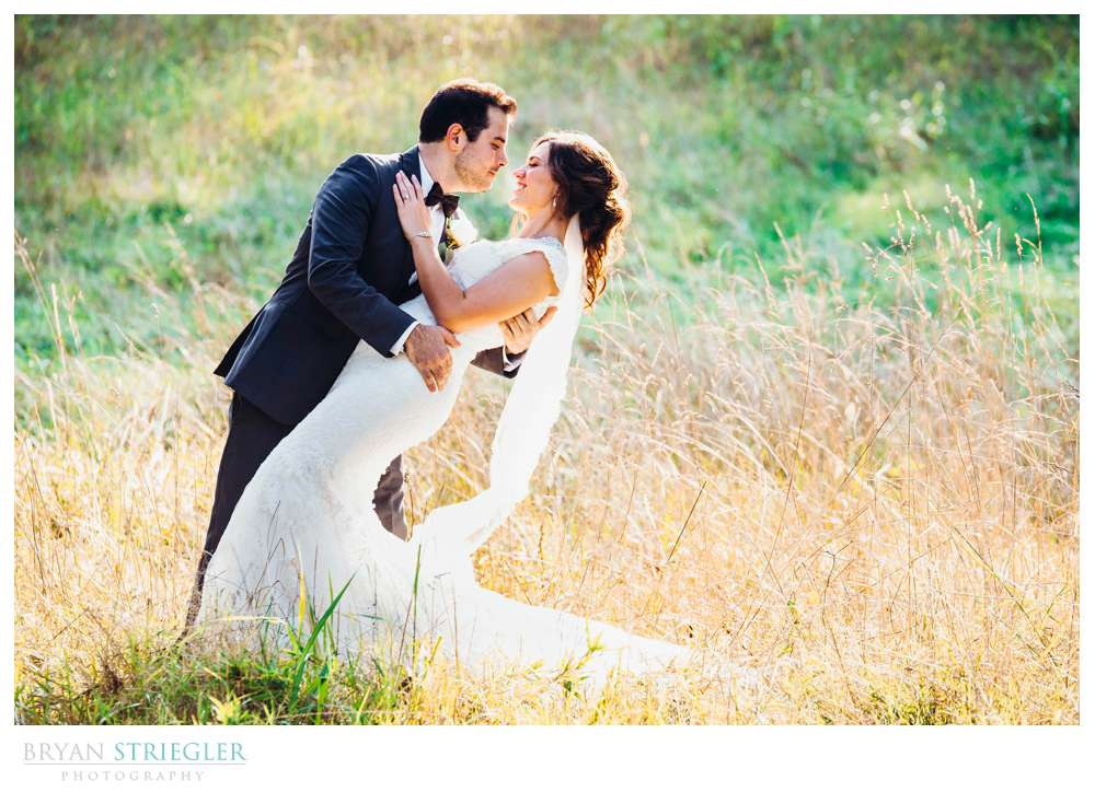wedding photos in a field