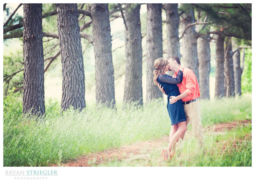 couple in woods with row of trees