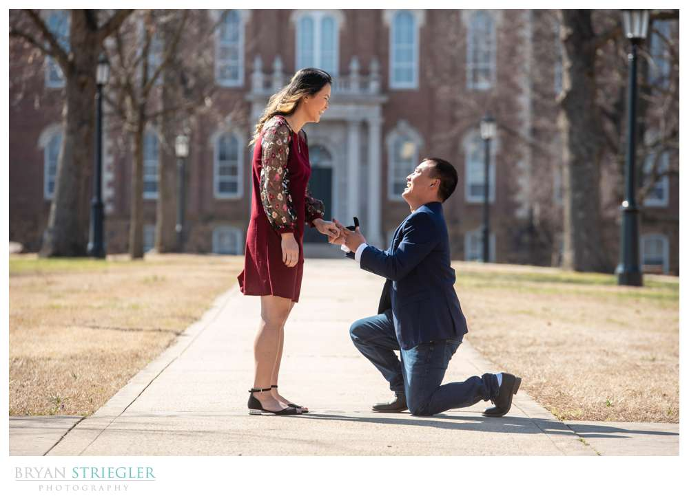 proposal in front of Old Main