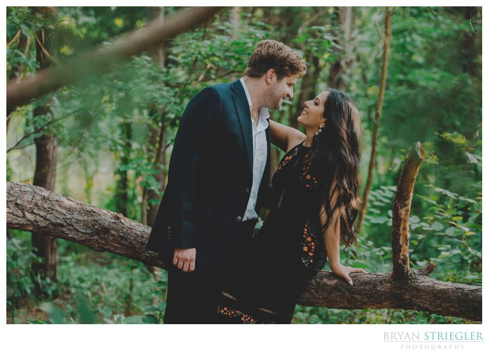Engagement photo in the woods like a magazine