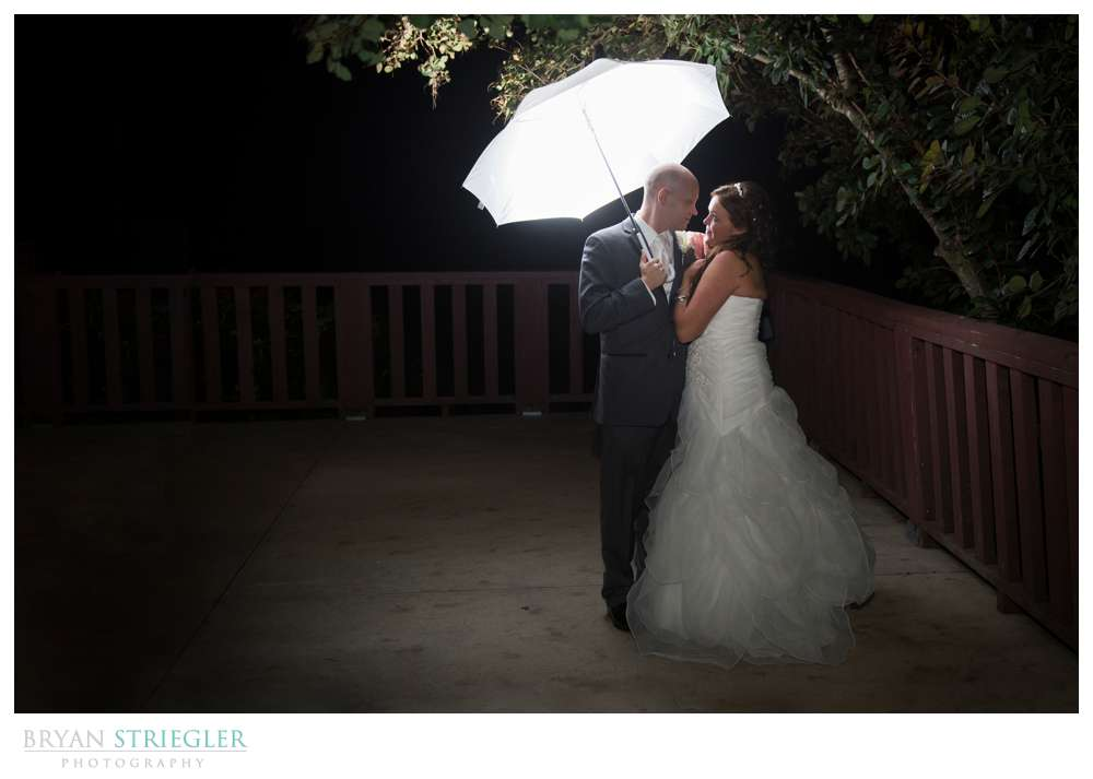 Creative wedding umbrella portrait