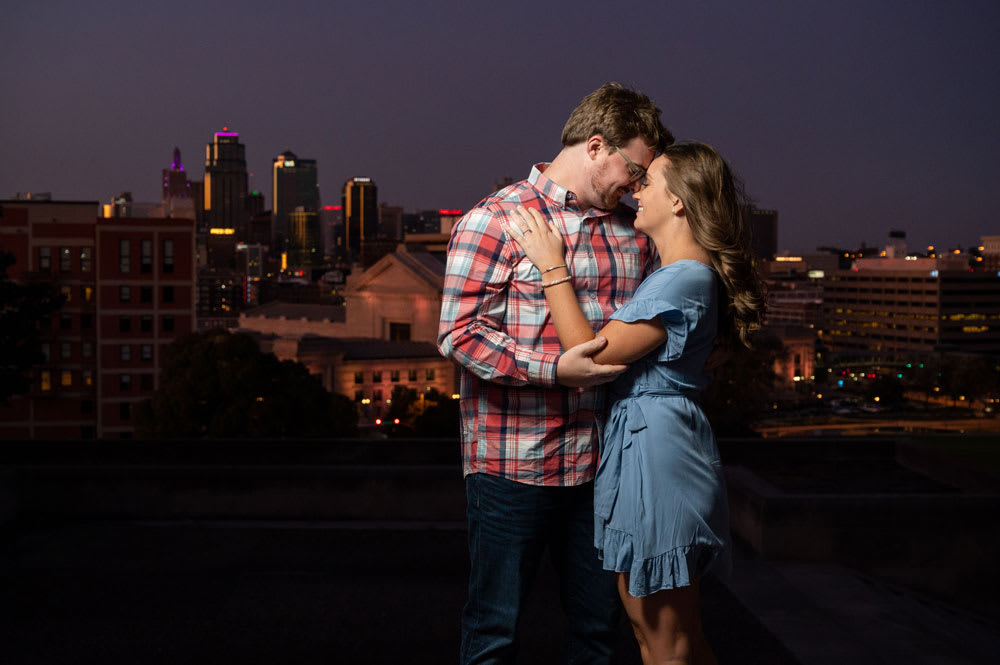 engagement photos in downtown Kansas City