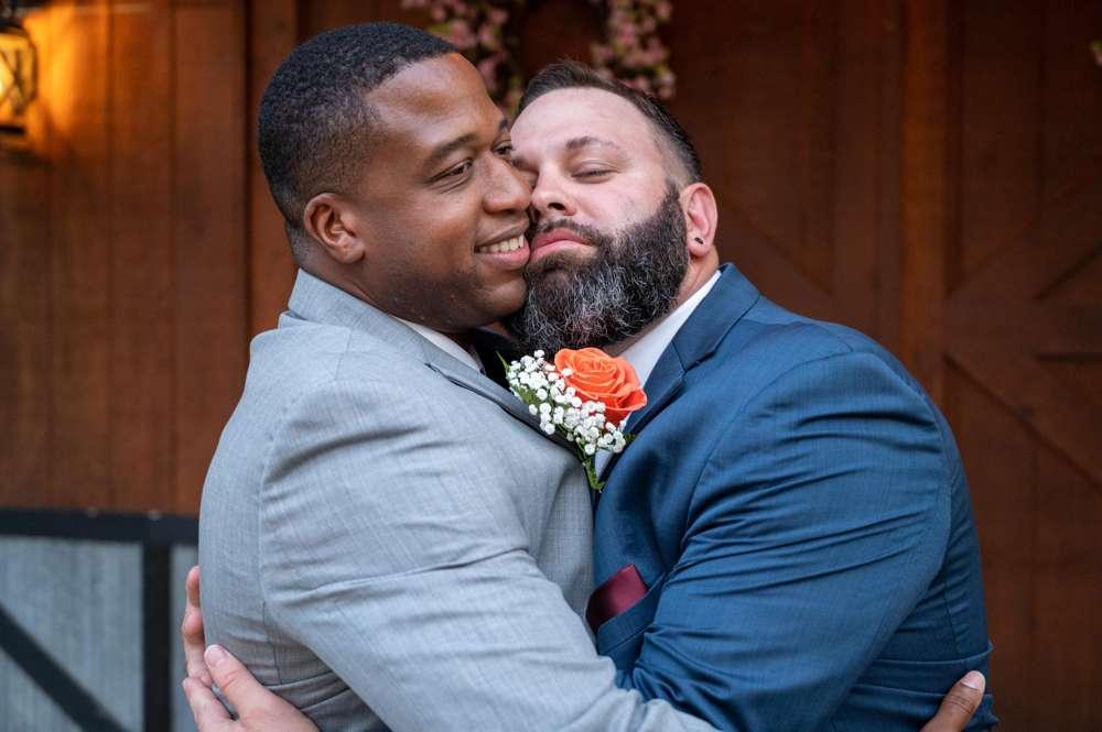 hugging groom