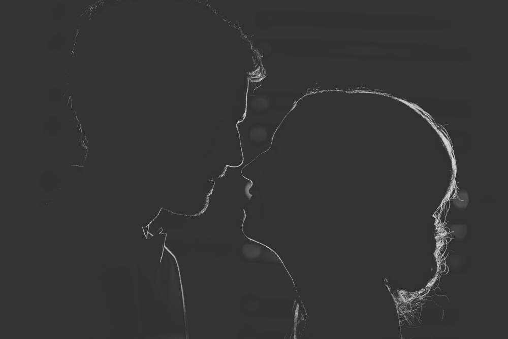 black and white silhouette of couple