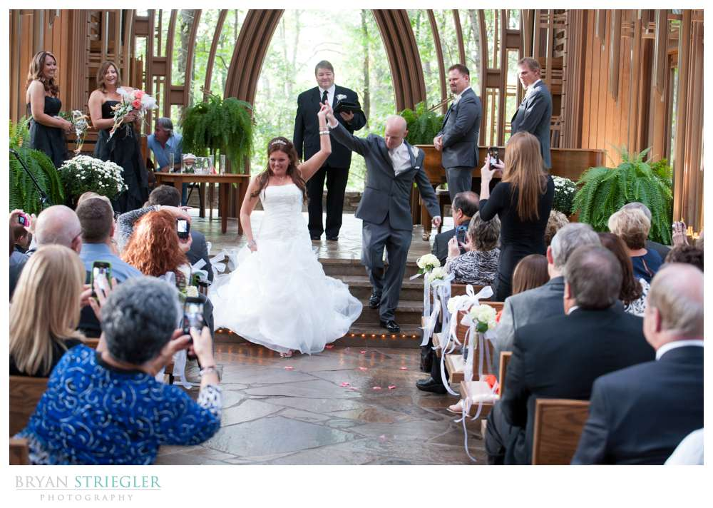 Creative wedding exiting church