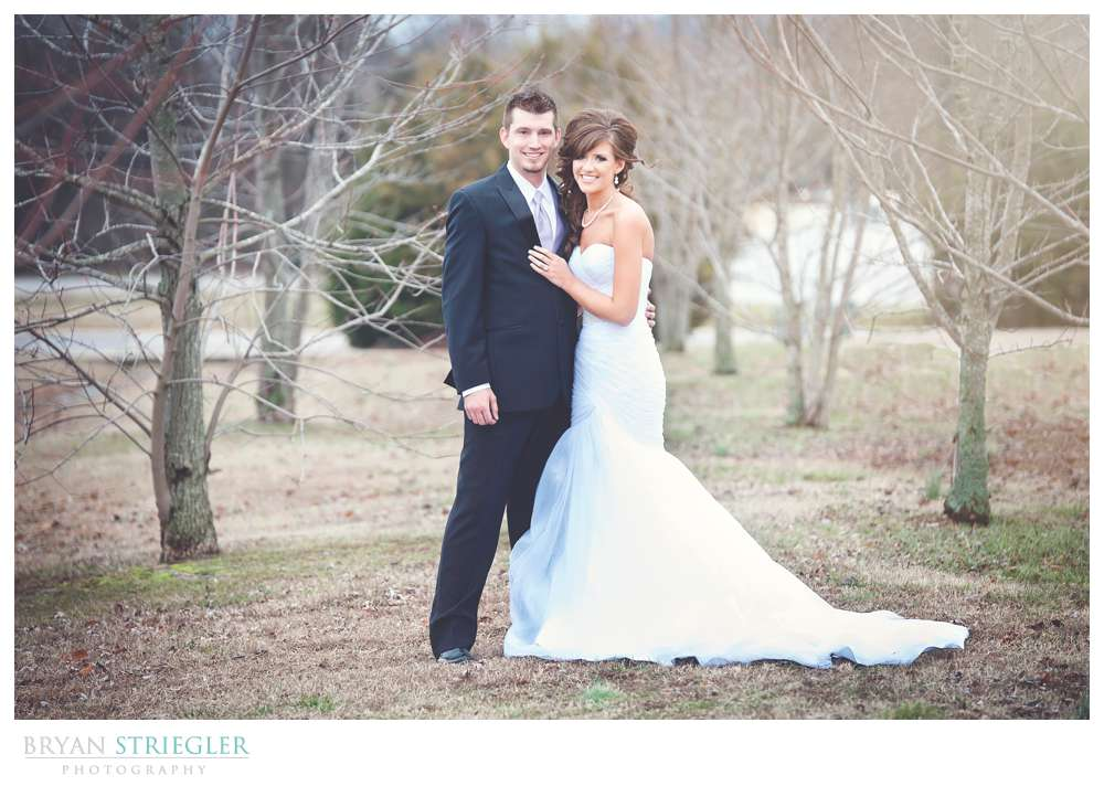 Fayetteville wedding photographer bride and groom portrait outside
