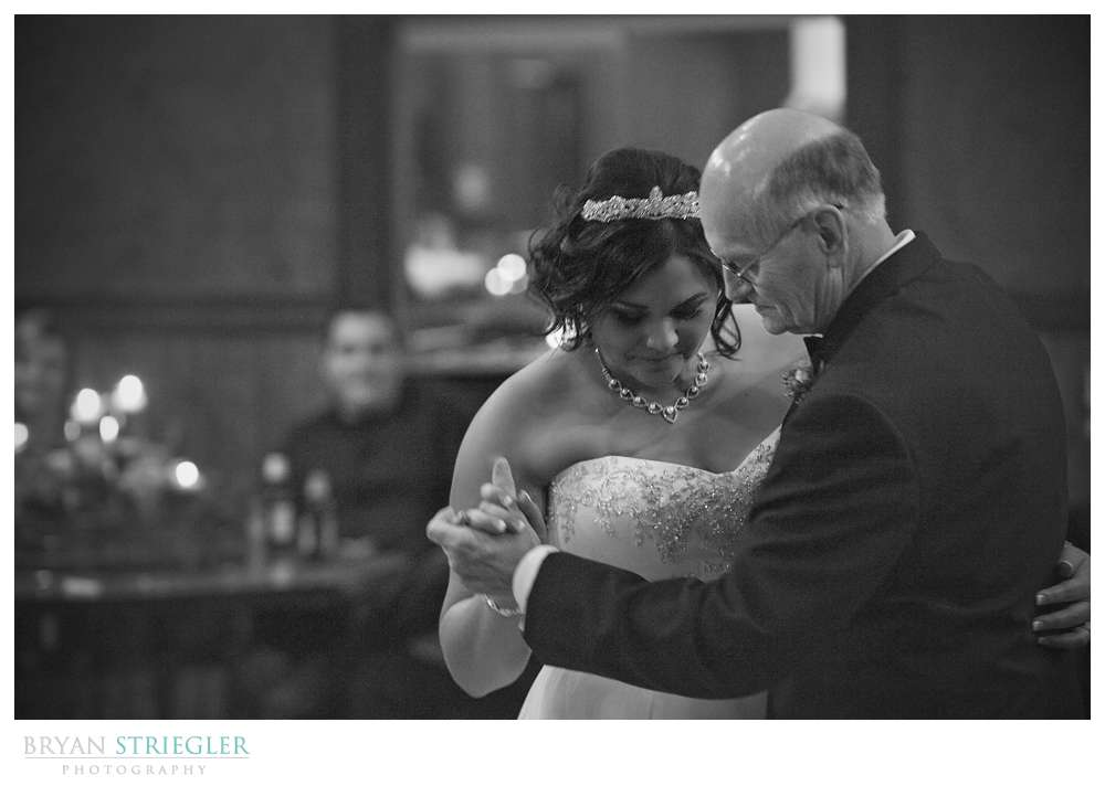 Northwest Arkansas Wedding Photographer father bride dance black and white