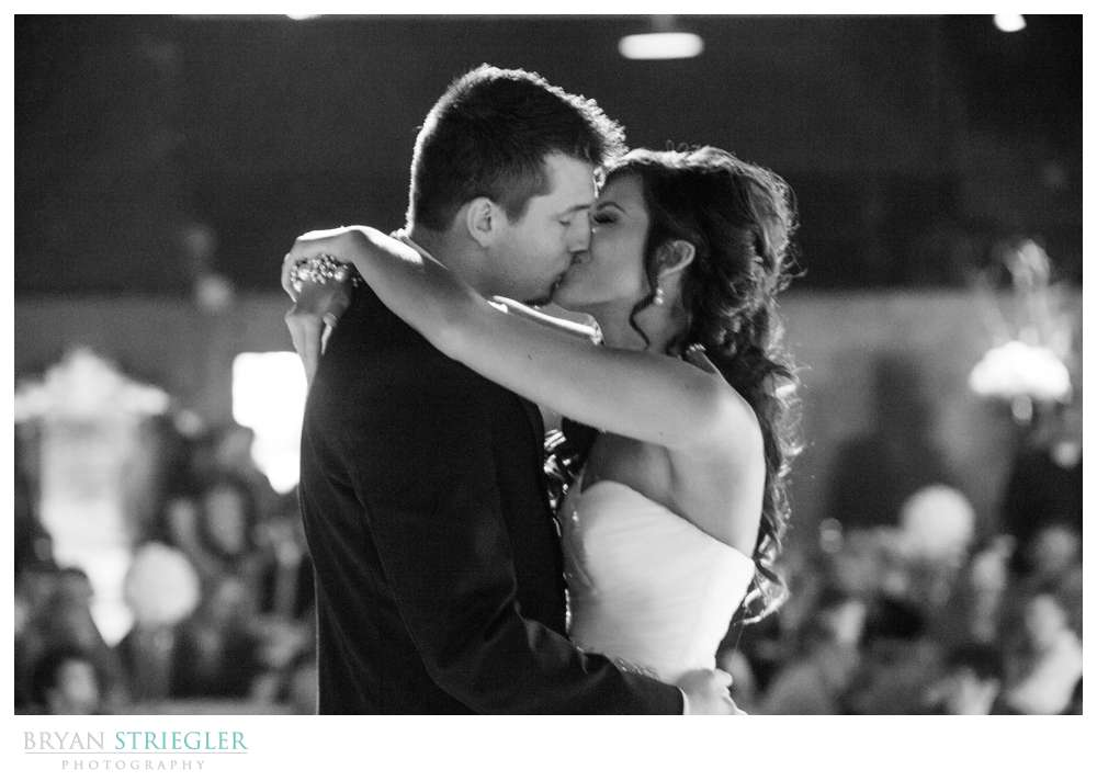 Fayetteville wedding photographer black and white first dance kiss