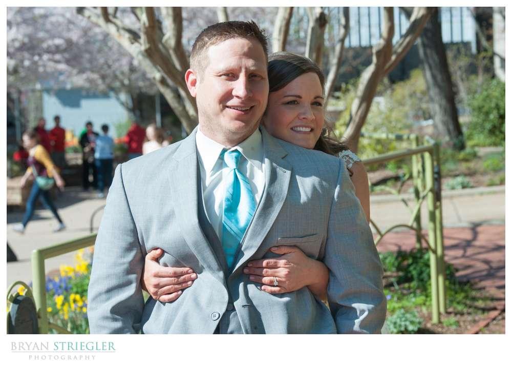 Fayetteville, Arkansas wedding First look on Fayetteville Square